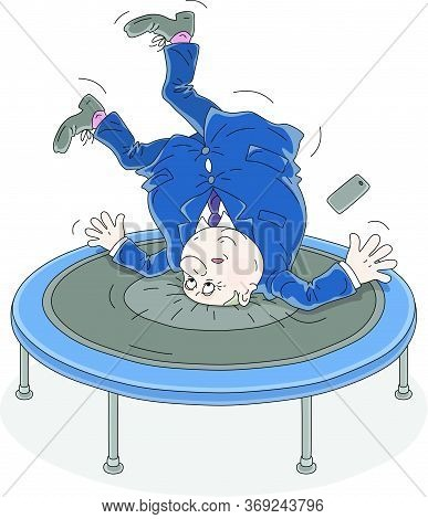 Fat Active Government Official Funny Jumping On A Sport Trampoline, Vector Cartoon Illustration Isol