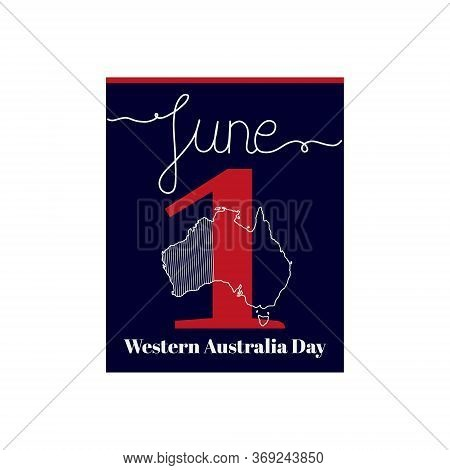 Calendar Sheet, Vector Illustration On The Theme Of Western Australia Day. June 1. Decorated With A