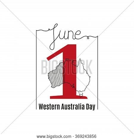 Vector Illustration On The Theme Of Western Australia Day. June 1. Decorated With A Handwritten Insc
