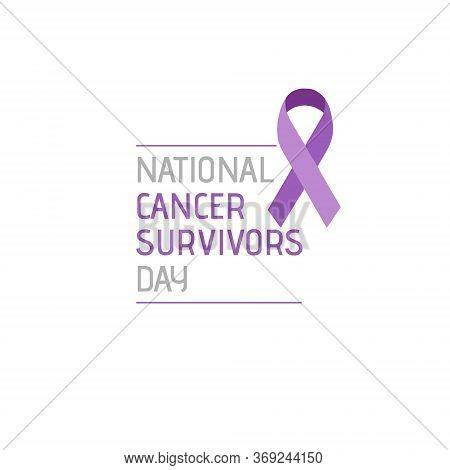 Purple Ribbon, Cancer Awareness Symbol. Illustration Of 7 June National Cancer Survivors Day.