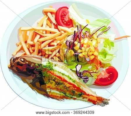 Fried Fish With Fries And Salad In The Plate. Vector Illustration. Useful For Decorating Menu Pages.