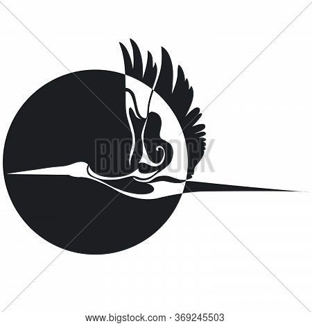 Stork Flies Against The Sun, Logo, Silhouette, Isolated Object On A White Background, Vector Illustr