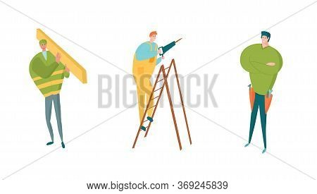 Construction Workers Characters Set. Carpenter With Timber, Handyman In Tools Belt, Diy Man With Dri