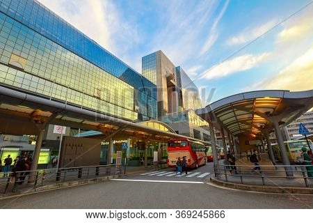 Kyoto, Japan - April 27, 2017: Entrance Of Kyoto Station Building From Karasuma Side, In Front Of Te