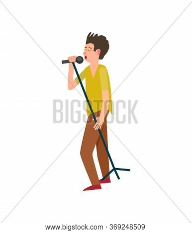 Music Performance Concert Man With Microphone Vector. Isolated Stylish Man With Mike Musician Vocali