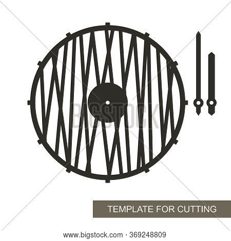 Unusual Round Wall Clock In A Minimalistic Modern Style. Dial Without Numbers, Pattern Of Straight L