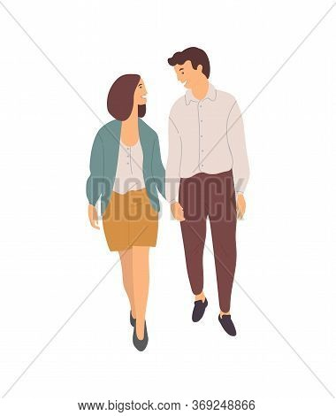 Smiling Dating Couple Walking Together Isolated People. Vector Young Cartoon Characters On Walk, Hap