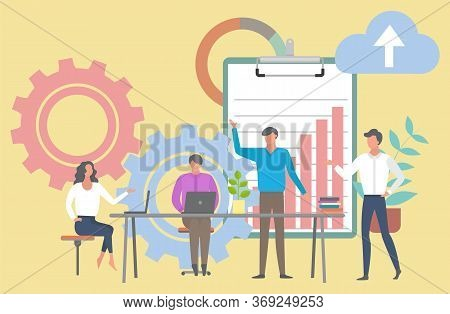 Company Meeting Business Conference Vector, Boss And Employees. Cogwheel With Clipboard With Infocha
