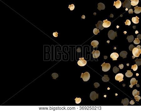 Gold Seashells Vector, Golden Pearl Bivalved Mollusks. Exotic Scallop, Bivalve Pearl Shell, Marine M