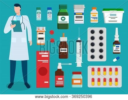 Collection Of Medicine And Doctor Examining History Of Patient Illness. Set Of Pills And Syringe, Tu