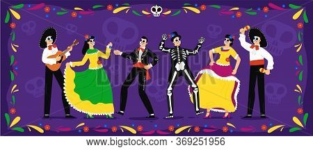 Mexican Day Of The Dead. Skeletons Party Celebration Tradition In Floral Frame. Mexican People Weari