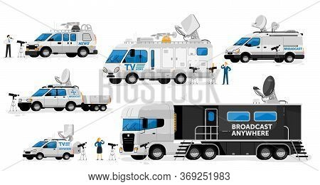 Broadcast Vans. Broadcasting Transport Set. Television Channel Van, Car, Truck, Auto Vehicles With S