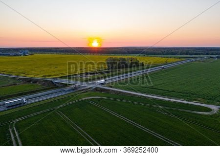 Drone View On Highway In Gliwice During Sunset