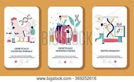 Biotechnology Mobile App Onboarding Screens Vector Template