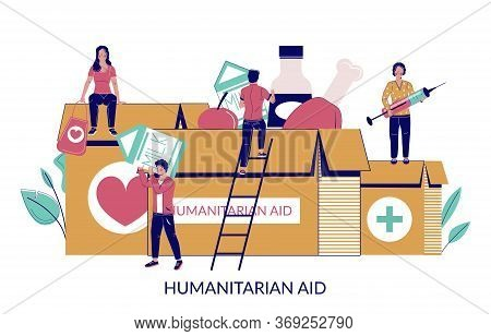 Humanitarian Aid, Vector Flat Style Design Illustration