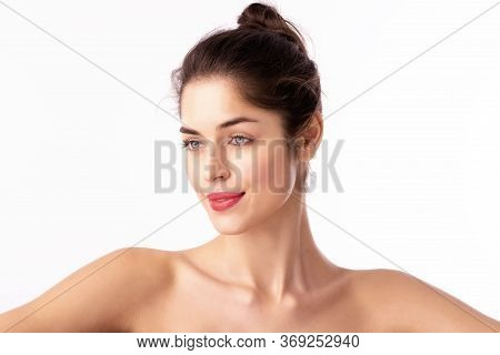 Beauty Shot Of Attractive Woman With Red Lipstick Posing At Isolated White Background
