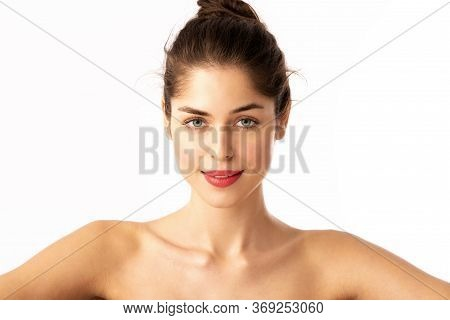 Beautiful Woman With Red Lipstick Posing At Isolated White Background