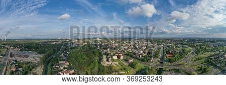 Aerial Panoramic Photo Of Bedzin City And Bedzin Medieval Castle.