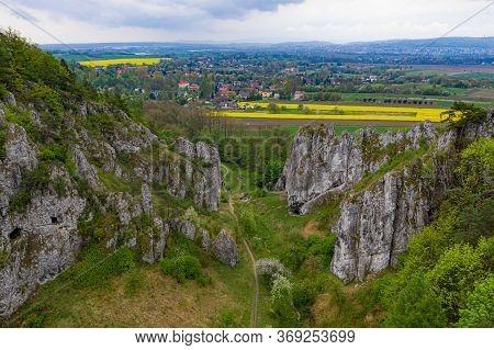 Drone View On Limestone Rocks In Jura Krakowsko-czestochowska.