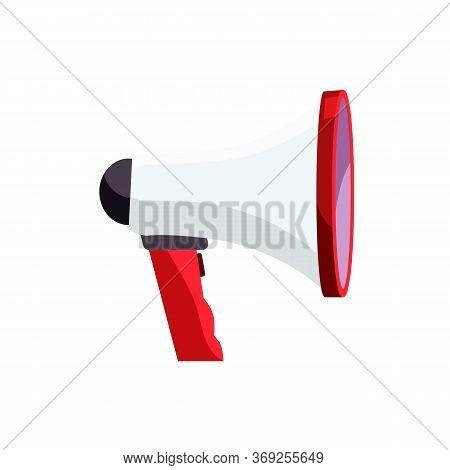 White Megaphone Illustration. Loud Speaker, Dynamic, Meeting. Demonstration Concept. Illustration Ca