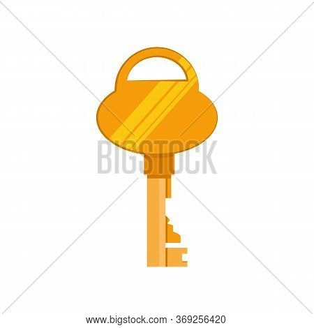 Golden Retro Key Illustration. Mechanism, Protection, Safety. Houseware Concept. Illustration Can Be