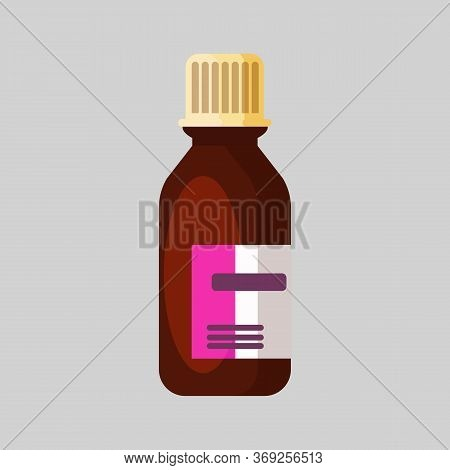 Medical Bottle. Glass, Dark, Sticker, Flask. Medication Concept. Illustration Can Be Used For Topics