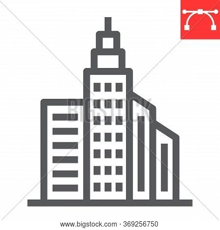 City Buildings Line Icon, Business And City, Buildings Sign Vector Graphics, Editable Stroke Linear