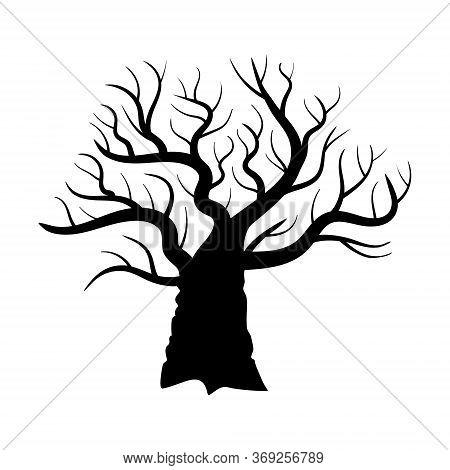 Naked Oak Silouette. Black Leafless Tree On White Background. Vector Illustration.
