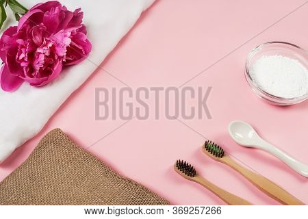 Eco-friendly Bamboo Toothbrushes, Handmade Soap, Tooth Powder, Linen Cloth On A Wooden Background. Z