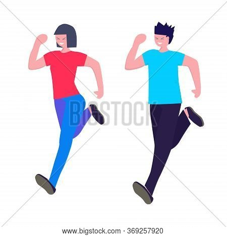 Sport, Jogging, Fitness, Training, Healthy Active Lifestyle Concept. Happy Man And Woman Running. Ve
