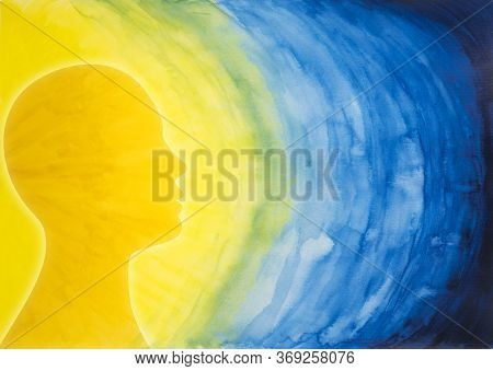 Mental Health Concept. Head Face Human Person In Profile Thinking. Psychology And Mind. Behavior Met