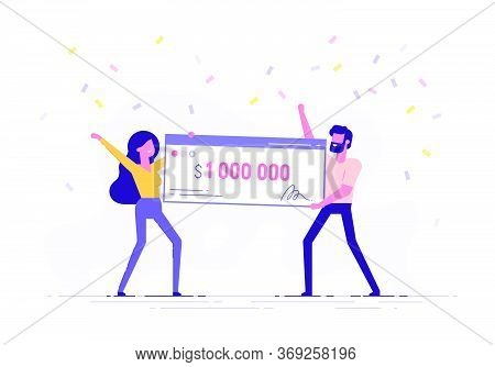 Happy Man And Woman Holding A Bank Check For A Million Dollars. Lottery Gain Or Grant Concept. Vecto