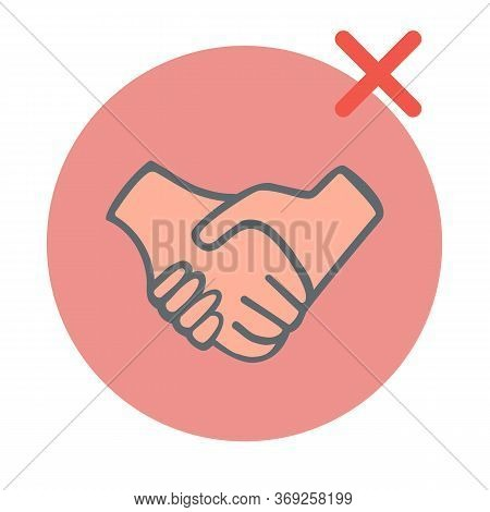 2019ncov Virus Protection Infographic. People Greet Each Other With A Handshake.it Is Shown How To B