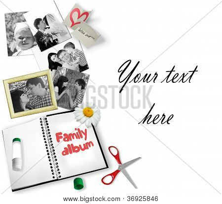 Photos background with different accessories