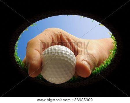 Golf Ball With Hand