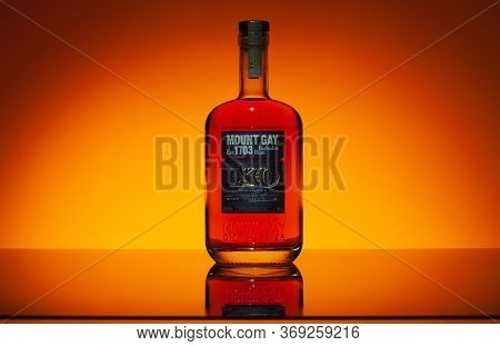 Prague, Czech Republic - 28 May,2020: Mount Gay Rum From Barbados. The Oldest Surviving Deed For The