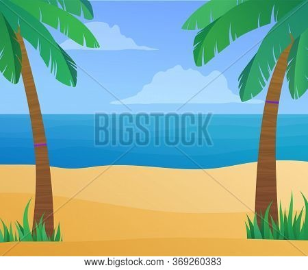Summertime Exotic Beach Vacation Banner. Beautiful Ocean Coastline With Palm Trees At Sunny Day. Sum