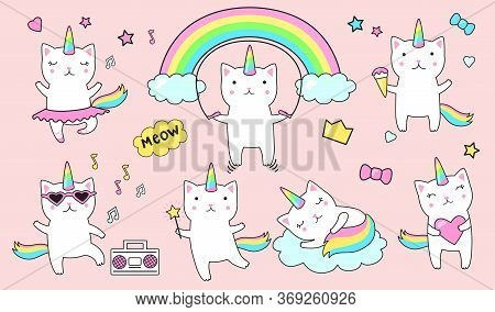 Cute Unicorn Cats Flat Icon Set. Cartoon Funny Kitty Character With Clouds And Rainbows Isolated Vec