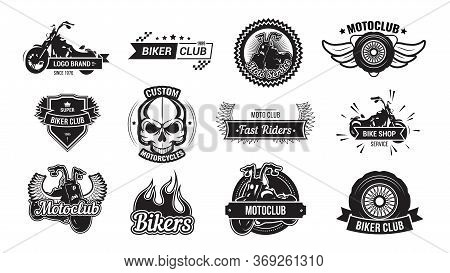 Motorcycle Riders Club Emblem Set. Monochrome Logo Templates With Fast Sport Motor Bikes, Skull, Whe