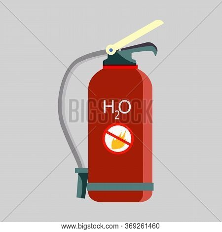 Fire Extinguisher. Water, Red Balloon, Equipment. Fire Safety Concept. Illustration Can Be Used For
