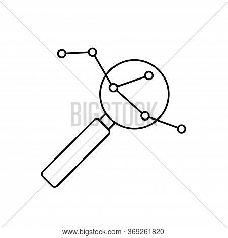 Magnifier Icon, Enlarged Molecule. Sign For Application, Site, Phone.