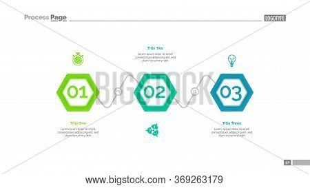 Process Diagram With Three Elements. Step Chart, Template, Layout. Creative Concept For Infographics