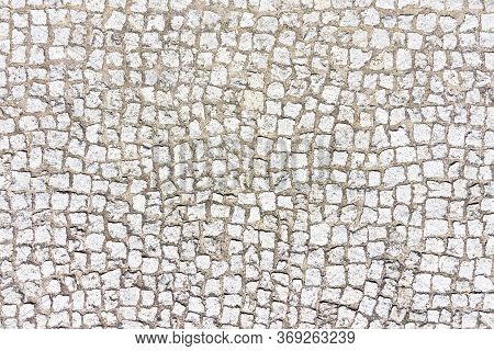 Cobblestone Pavement Texture. Street Blocks Background. Gray Rock Mosaic Cubes Pattern. Vintage City