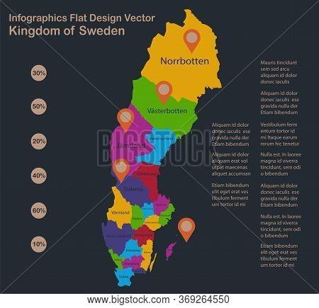 Infographics Sweden Map, Flat Design Colors, Names Of Individual Administrative Division, Blue Backg