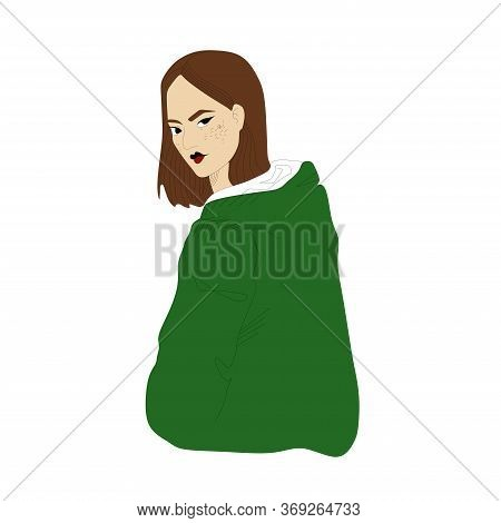 A Twisted Girl With Brown Hair And A Green Sweatshirt.a Sly And Graceful Look, Isolated On A White B