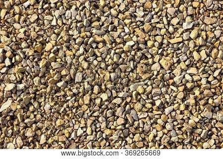 Macadam Of Limestone For Road Surface Close Up, Crushed Limestone Aggregate