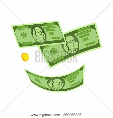 Falling Dollars And Coin . Money Rain, Winning Money, Gain. Money Concept. Illustration Can Be Used