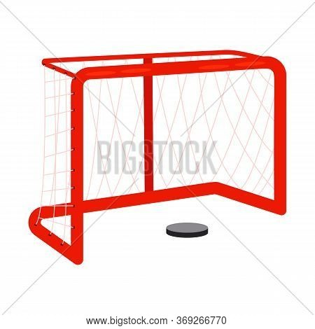 Ice Hockey Goal And Puck . Goal, Competition, Match. Ice Hockey Concept. Illustration Can Be Used Fo