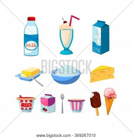 Diary Products Set. Pack, Bowls And Bottles With Mil Foods, Butter, Yogurt, Cheese, Ice Cream, Sour