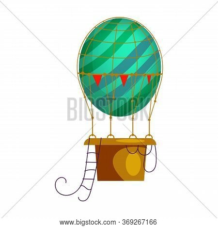 Blue Striped Hot Air Balloon Isolated . Retro Airship, Adventure, Voyage. Aerostat Concept. Can Be U